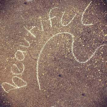Beautiful written on sidewalk