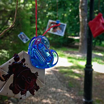 Note hanging from a tree