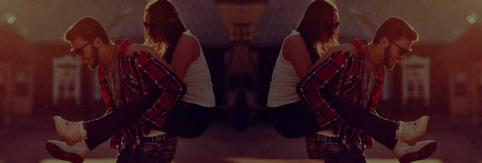 Hipster couple background