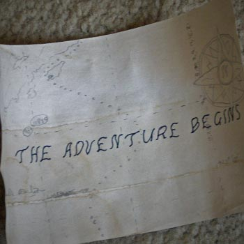 Note saying: The adventure begins