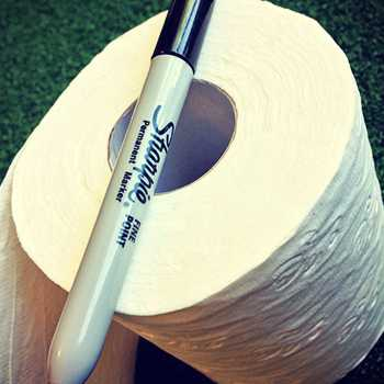 Marker with toilet paper